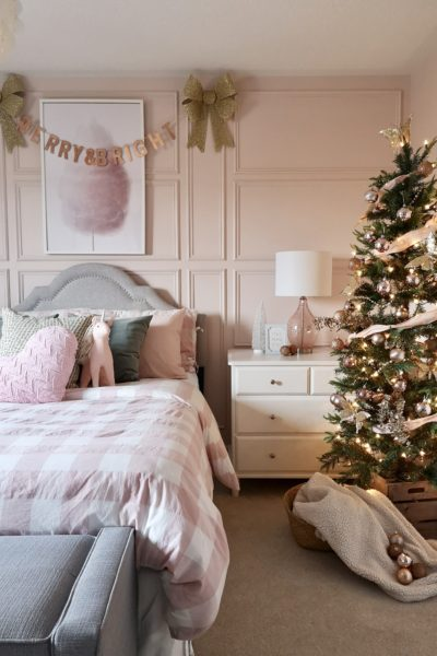 Pretty Pink Christmas Bedroom