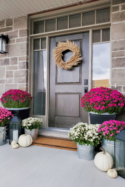 Simple Fall Porch + DIY Wheat Wreath